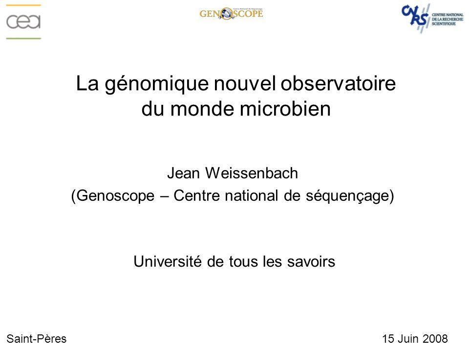 La génomique nouvel observatoire du monde microbien