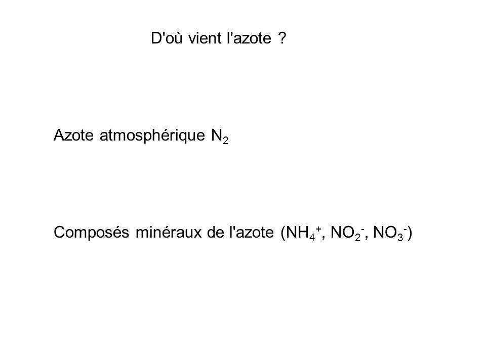 D où vient l azote Azote atmosphérique N2 Composés minéraux de l azote (NH4+, NO2-, NO3-)