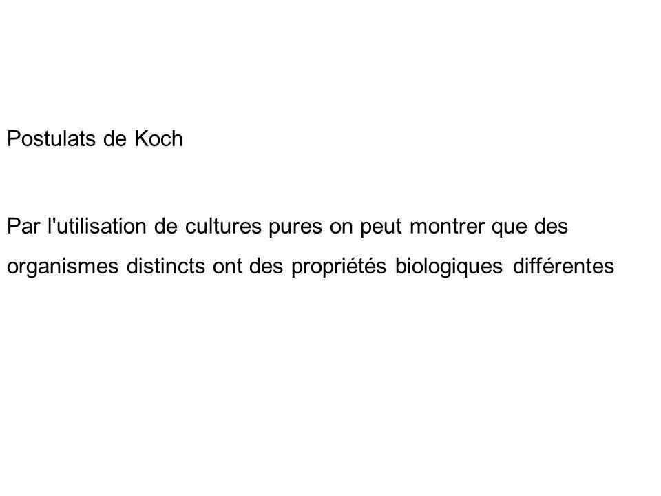 Postulats de Koch Par l utilisation de cultures pures on peut montrer que des organismes distincts ont des propriétés biologiques différentes.