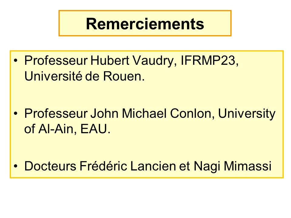 Remerciements Professeur Hubert Vaudry, IFRMP23, Université de Rouen.