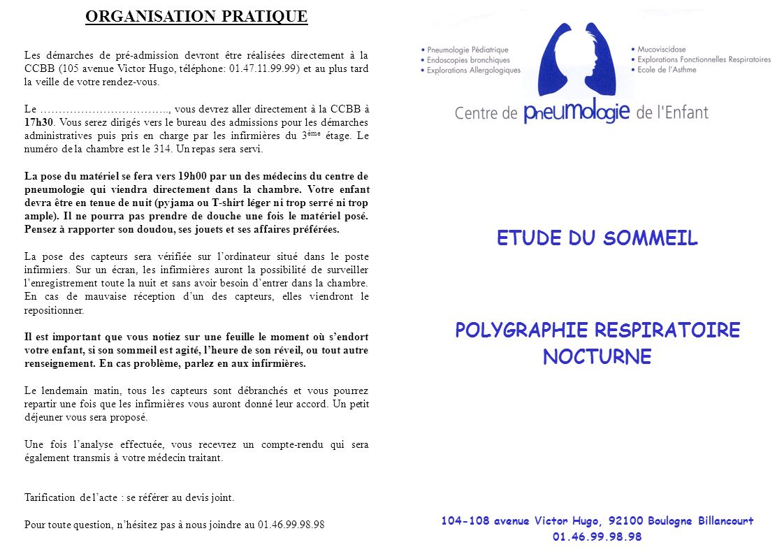 ETUDE DU SOMMEIL POLYGRAPHIE RESPIRATOIRE NOCTURNE