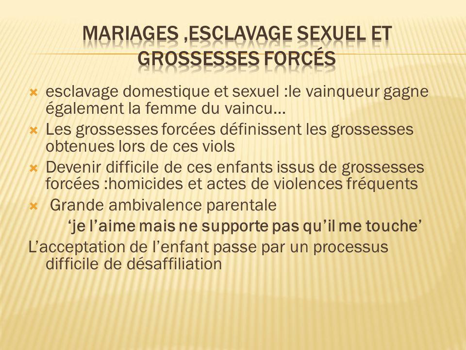 Mariages ,esclavage sexuel et grossesses forcés
