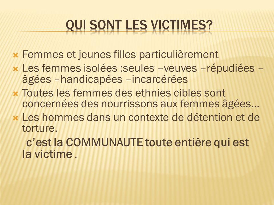 Qui sont les victimes Femmes et jeunes filles particulièrement
