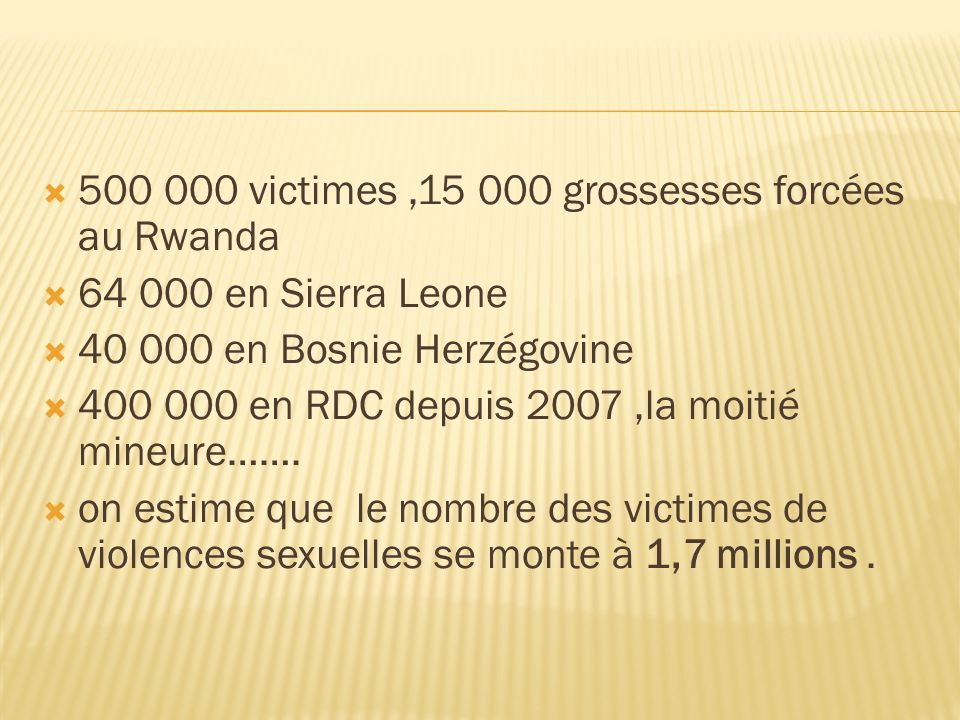 500 000 victimes ,15 000 grossesses forcées au Rwanda