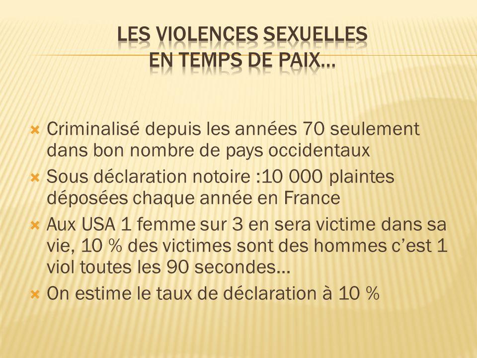 Les violences sexuelles En temps de paix…