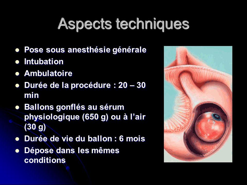 Aspects techniques Pose sous anesthésie générale Intubation