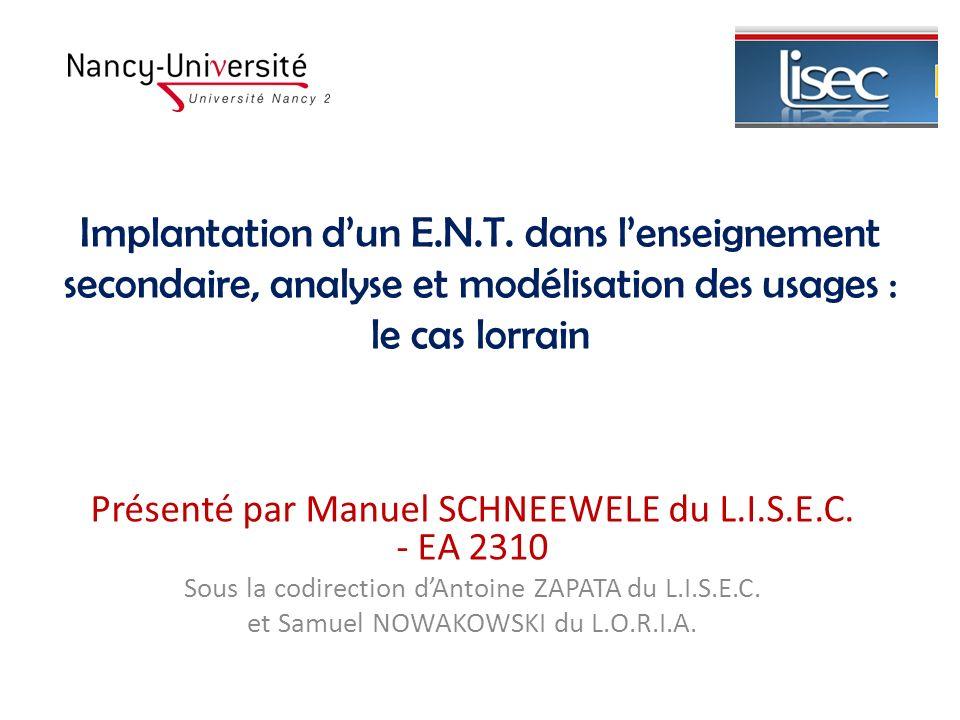 Implantation d'un E.N.T. dans l'enseignement secondaire, analyse et modélisation des usages : le cas lorrain