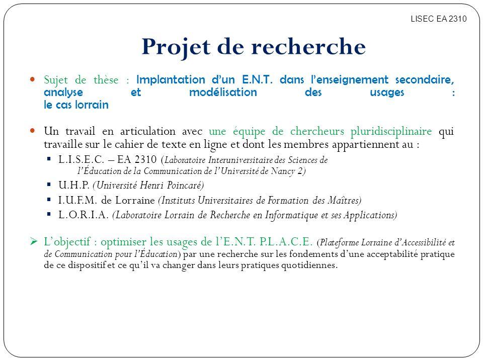 LISEC EA 2310 Projet de recherche.