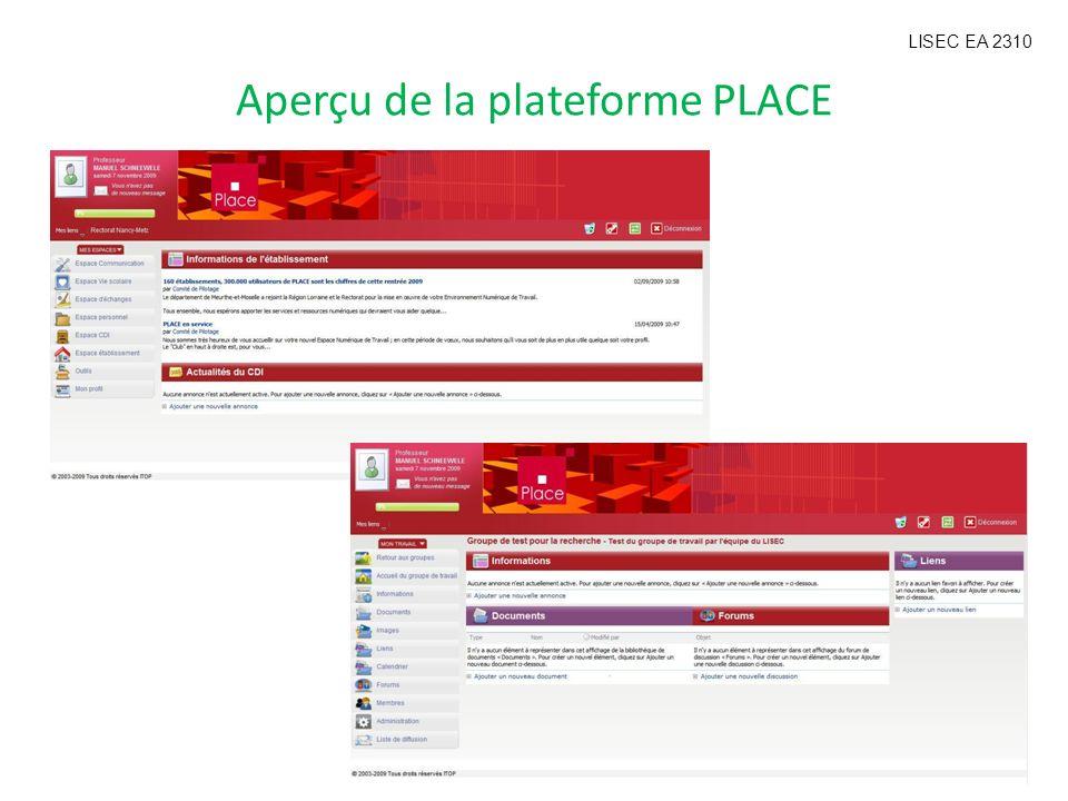 Aperçu de la plateforme PLACE