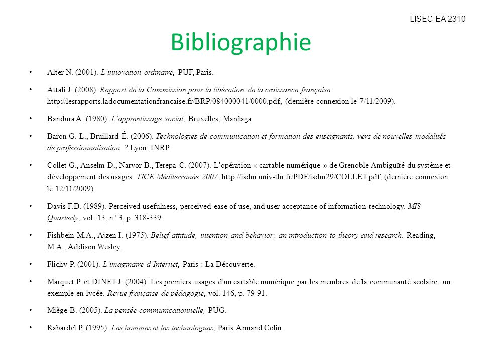 Bibliographie LISEC EA 2310
