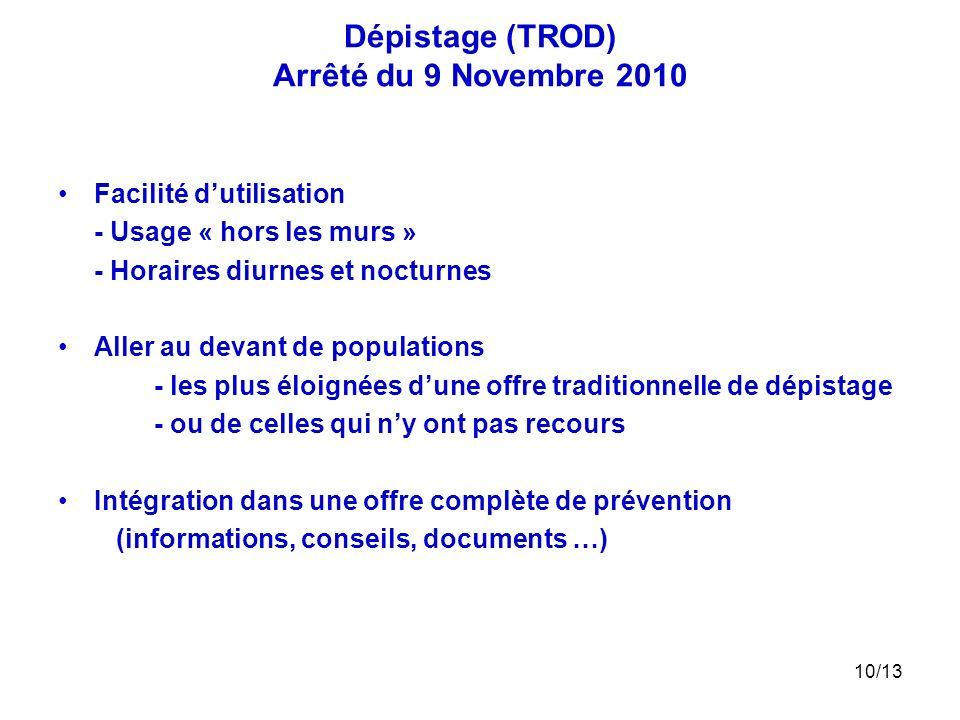 Dépistage (TROD) Arrêté du 9 Novembre 2010