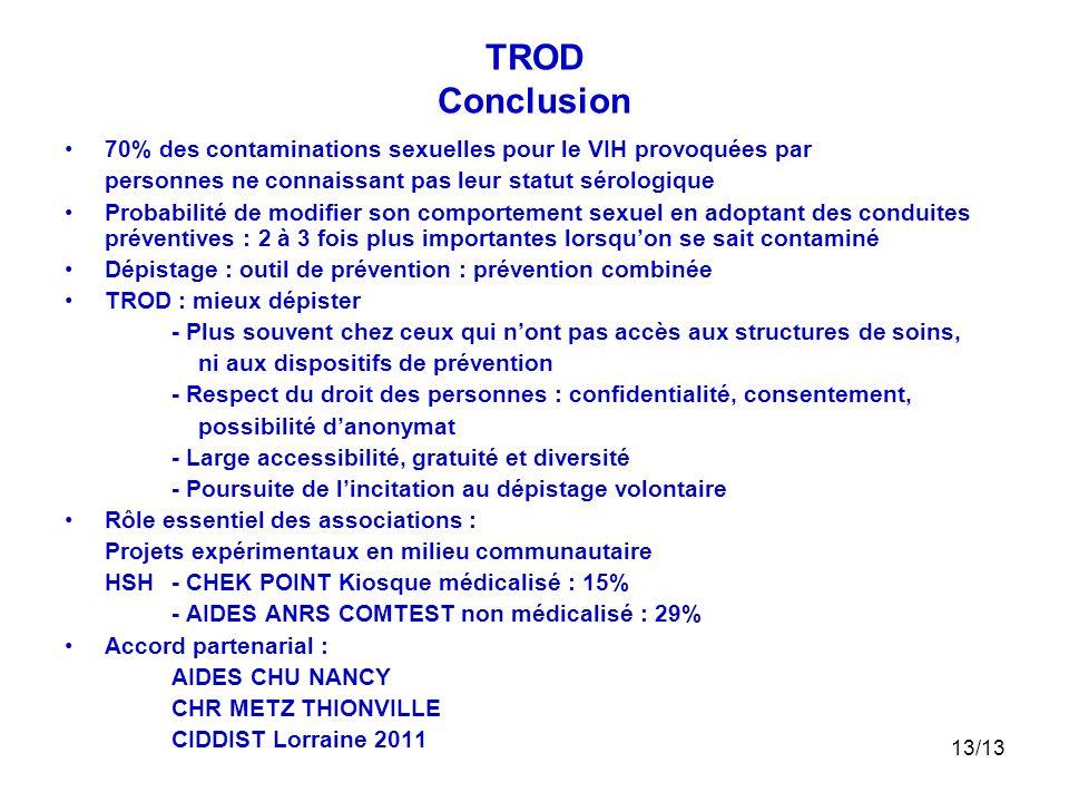 TROD Conclusion 70% des contaminations sexuelles pour le VIH provoquées par. personnes ne connaissant pas leur statut sérologique.