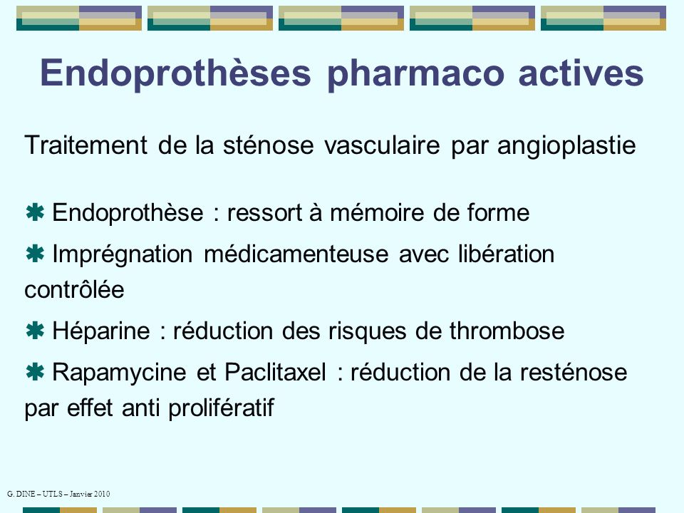 Endoprothèses pharmaco actives