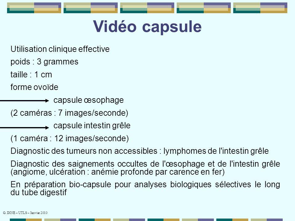 Vidéo capsule Utilisation clinique effective poids : 3 grammes