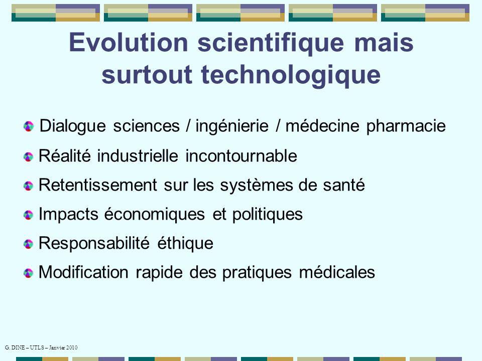 Evolution scientifique mais surtout technologique