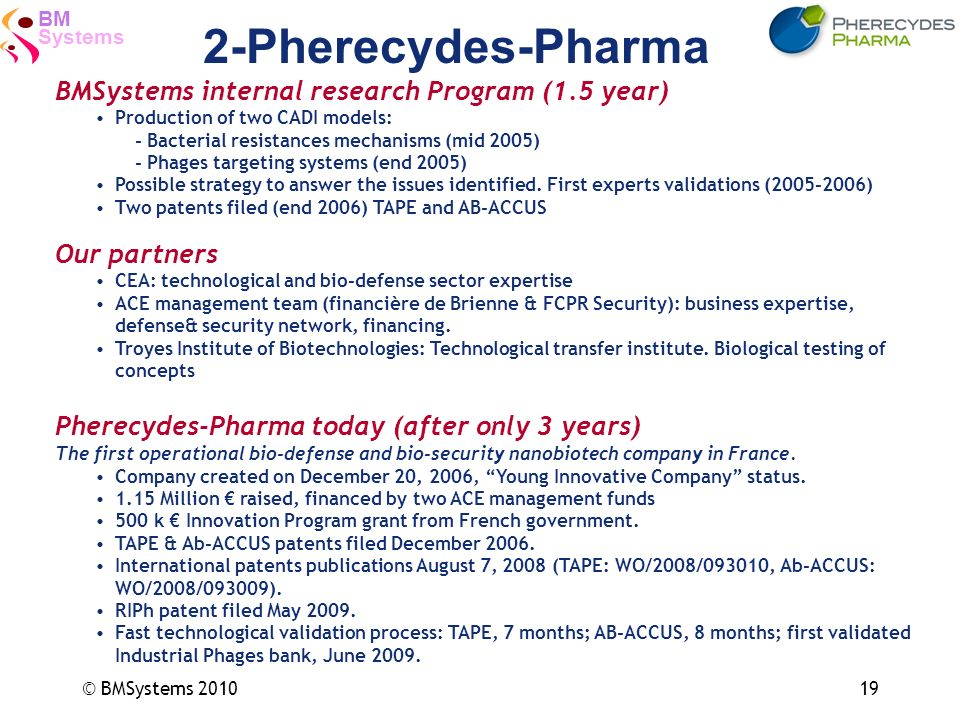 2-Pherecydes-Pharma BMSystems internal research Program (1.5 year)
