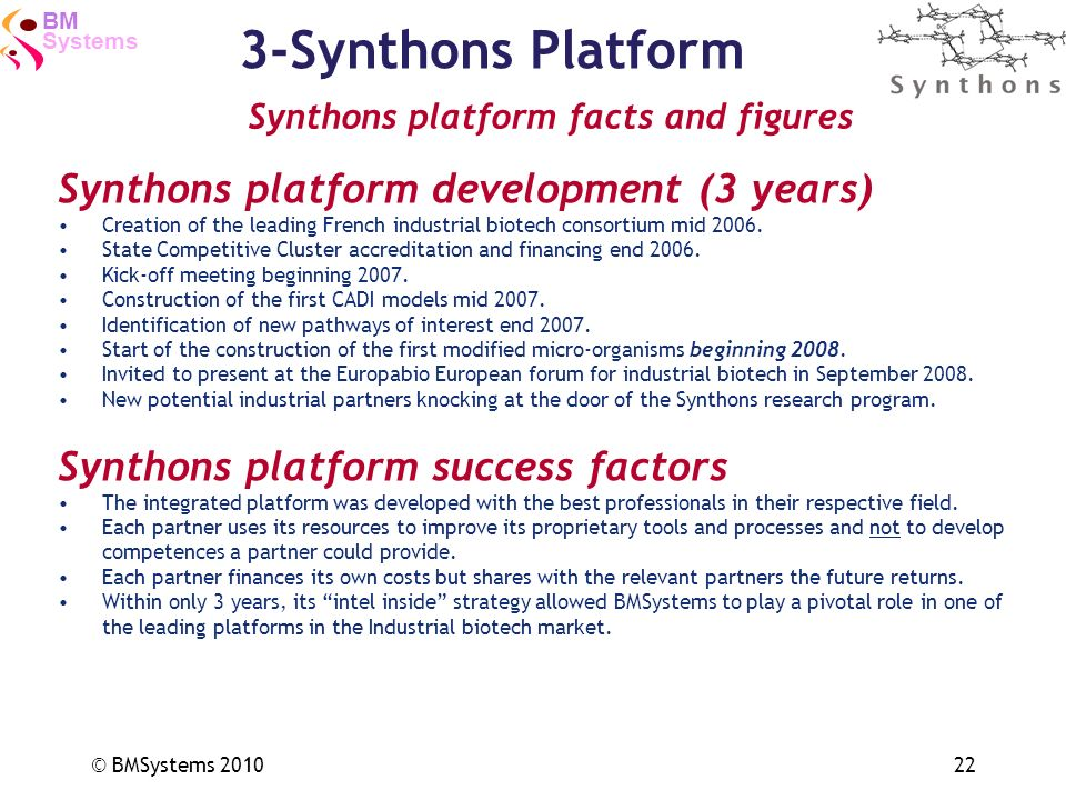 3-Synthons Platform Synthons platform development (3 years)