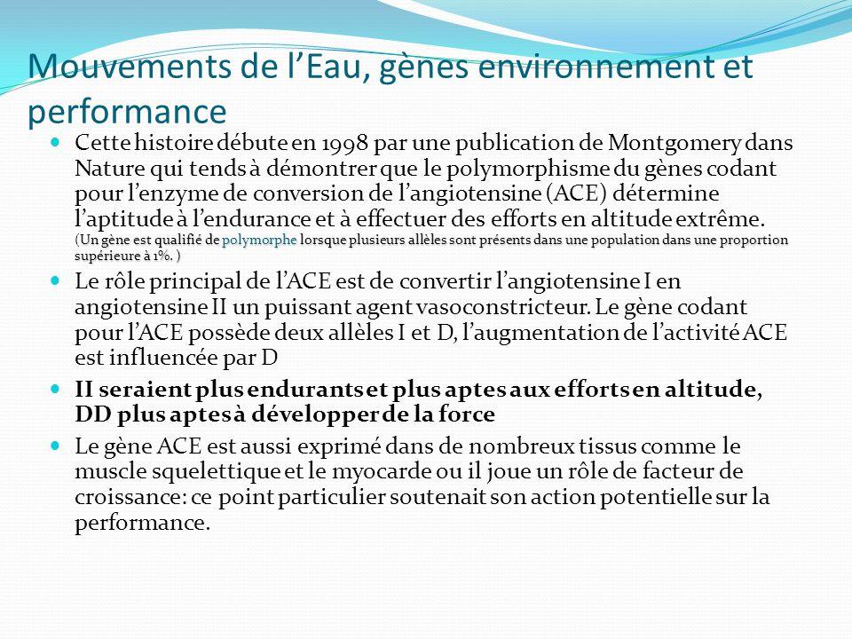 Mouvements de l'Eau, gènes environnement et performance