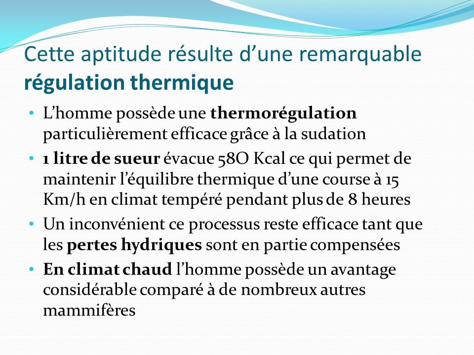 Cette aptitude résulte d'une remarquable régulation thermique