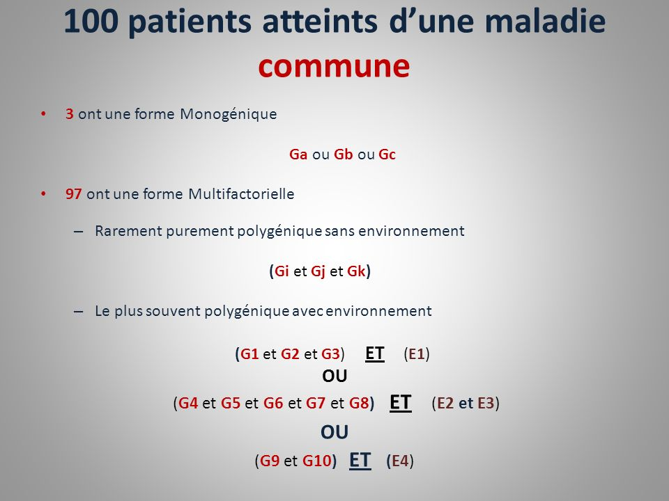 100 patients atteints d'une maladie commune