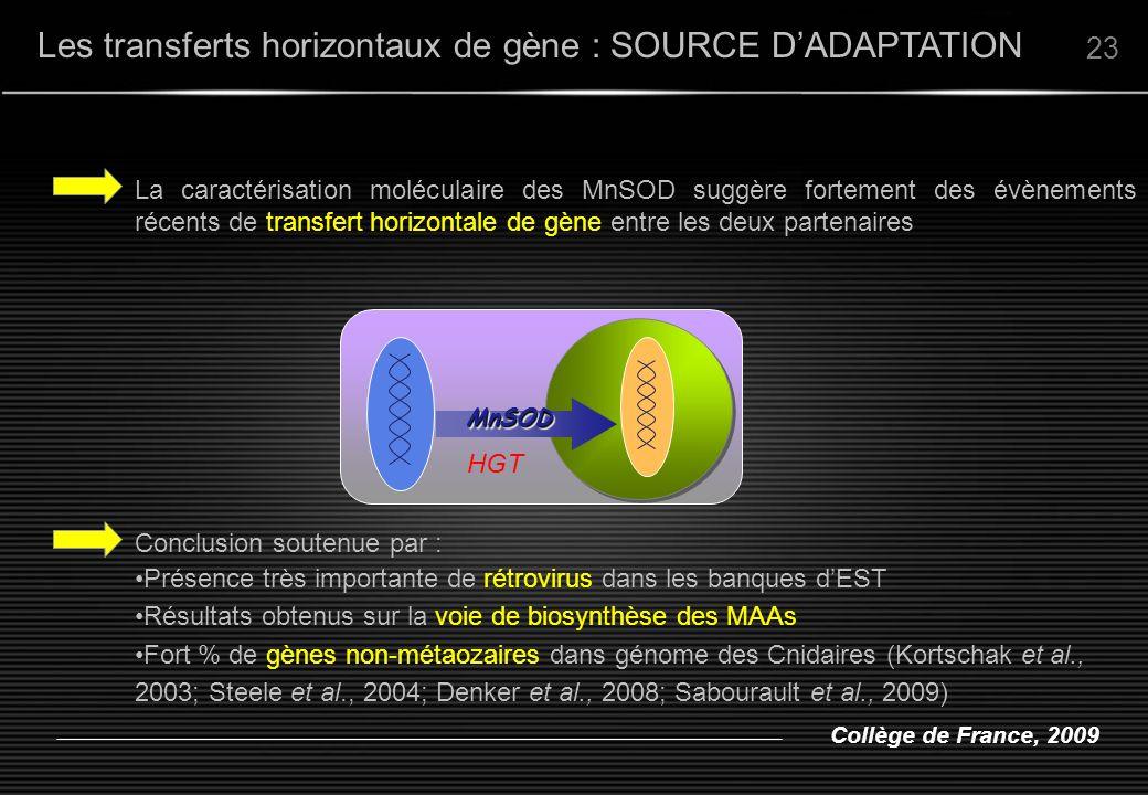 Les transferts horizontaux de gène : SOURCE D'ADAPTATION