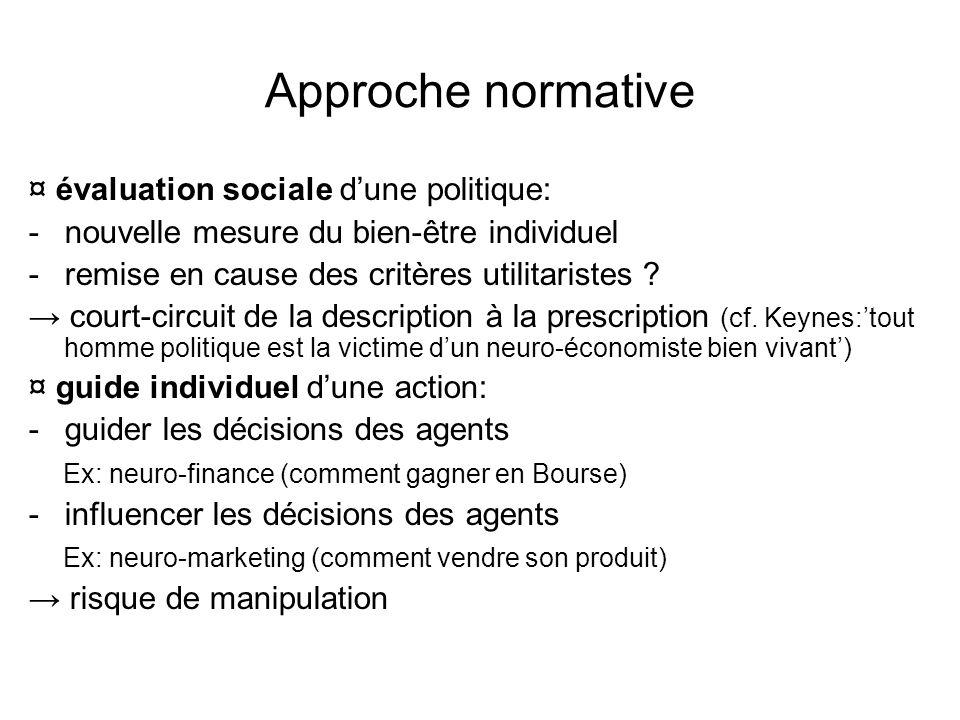 Approche normative ¤ évaluation sociale d'une politique: