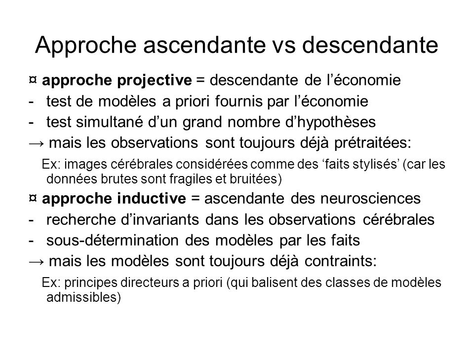 Approche ascendante vs descendante