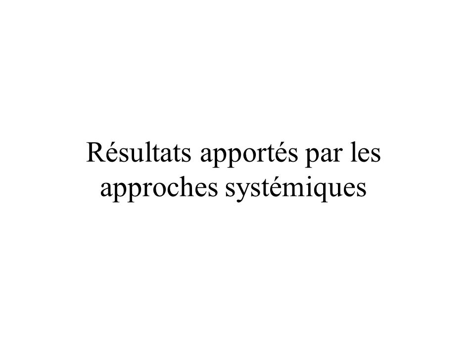 Résultats apportés par les approches systémiques