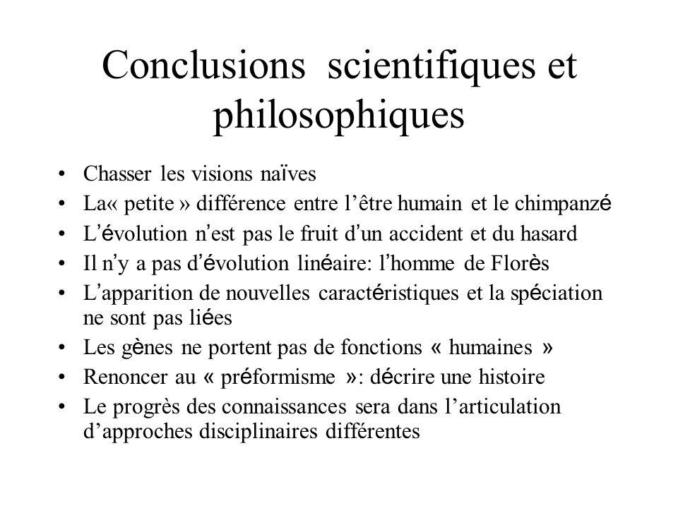 Conclusions scientifiques et philosophiques