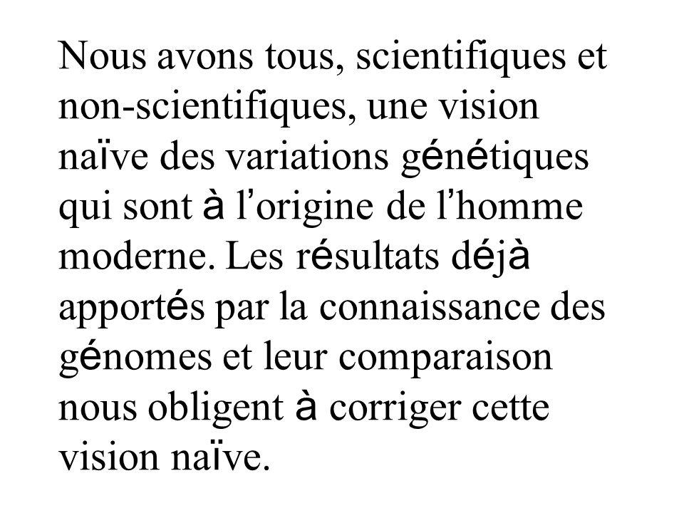 Nous avons tous, scientifiques et non-scientifiques, une vision naïve des variations génétiques qui sont à l'origine de l'homme moderne.