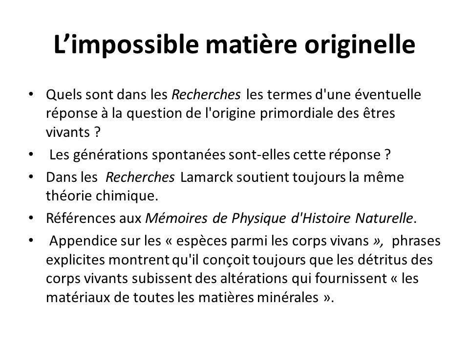L'impossible matière originelle