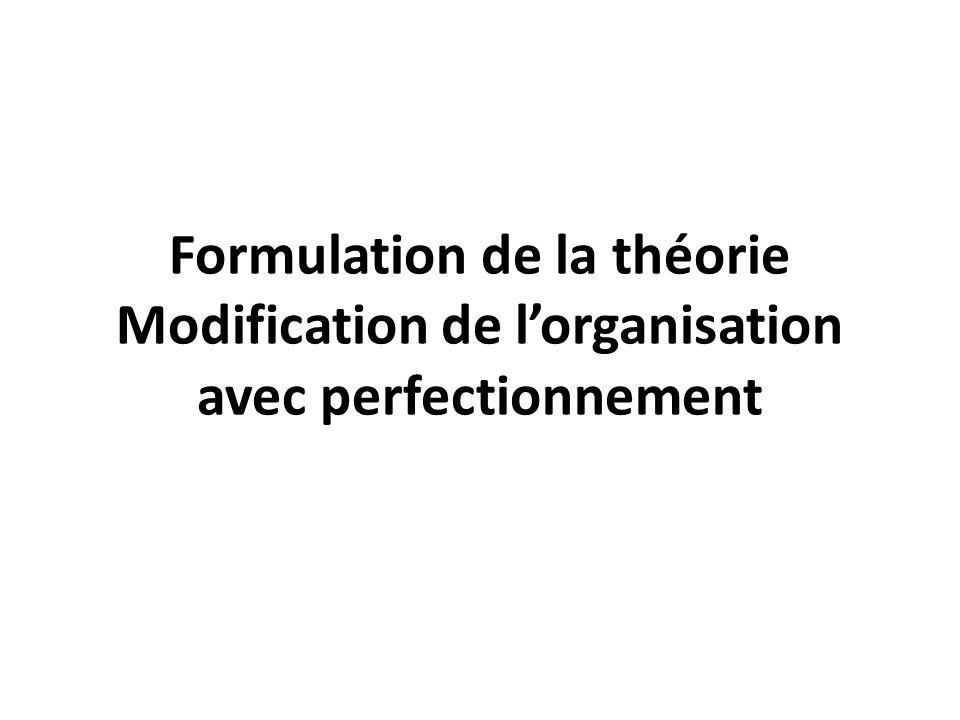 Formulation de la théorie Modification de l'organisation avec perfectionnement