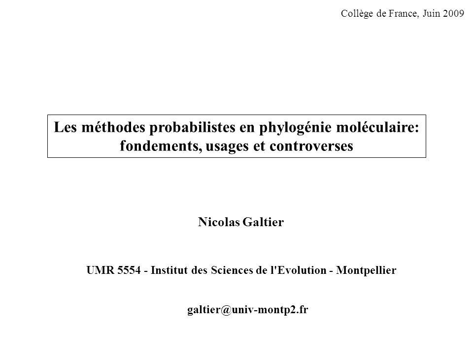 Les méthodes probabilistes en phylogénie moléculaire: