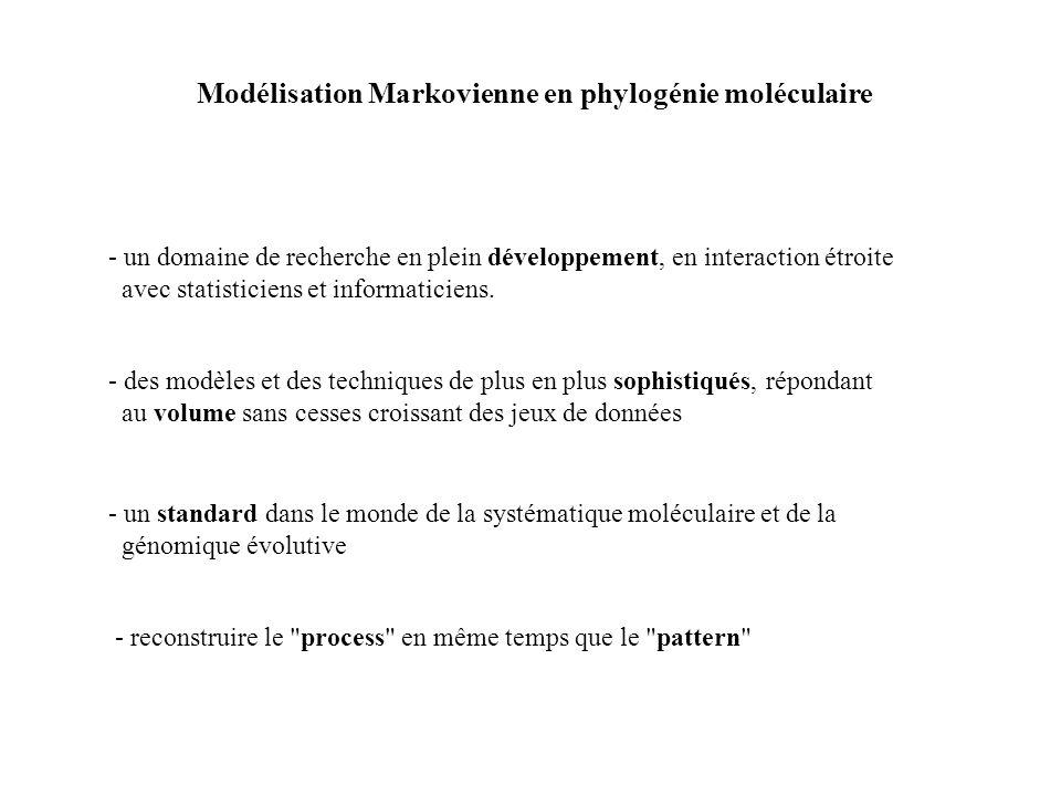 Modélisation Markovienne en phylogénie moléculaire