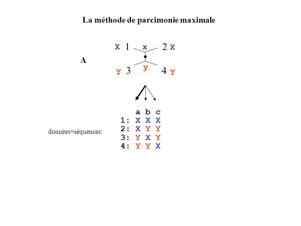 1 2 3 4 La méthode de parcimonie maximale X Y x y A a b c 1: X X X