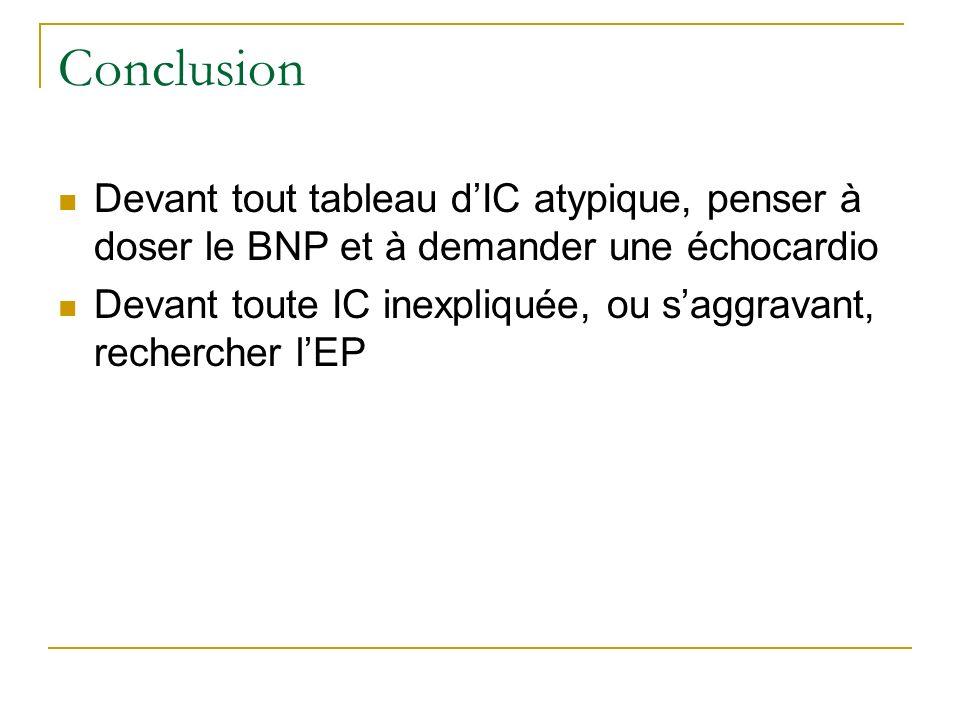 Conclusion Devant tout tableau d'IC atypique, penser à doser le BNP et à demander une échocardio.