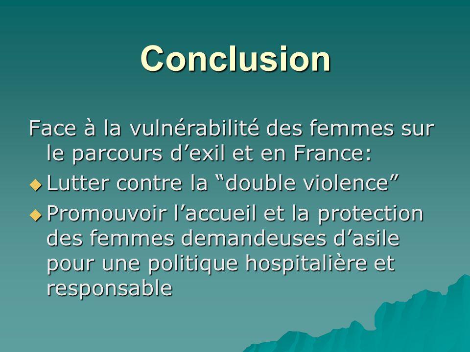 Conclusion Face à la vulnérabilité des femmes sur le parcours d'exil et en France: Lutter contre la double violence