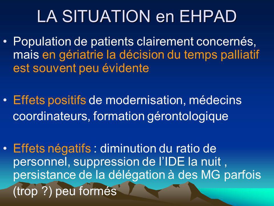 LA SITUATION en EHPAD Population de patients clairement concernés, mais en gériatrie la décision du temps palliatif est souvent peu évidente.