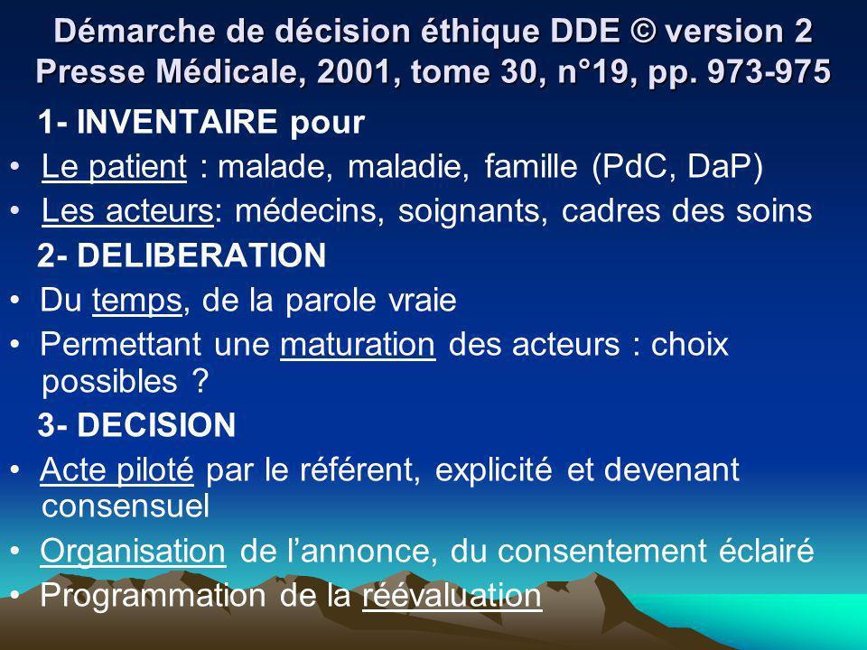 Démarche de décision éthique DDE © version 2 Presse Médicale, 2001, tome 30, n°19, pp. 973-975