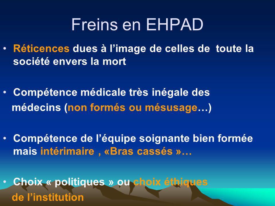 Freins en EHPAD Réticences dues à l'image de celles de toute la société envers la mort. Compétence médicale très inégale des.