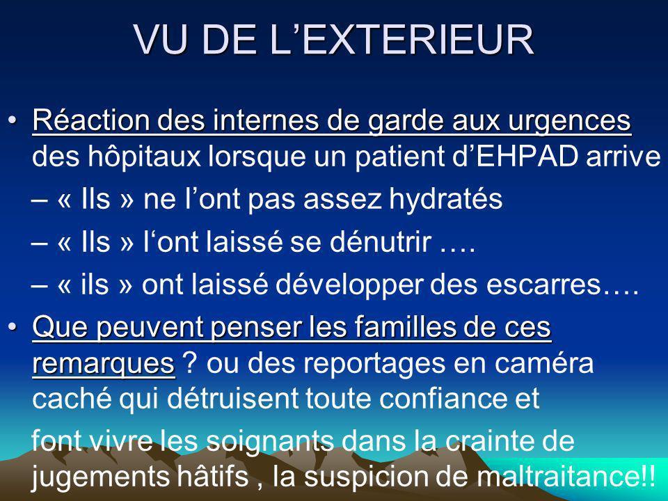 VU DE L'EXTERIEUR Réaction des internes de garde aux urgences des hôpitaux lorsque un patient d'EHPAD arrive.
