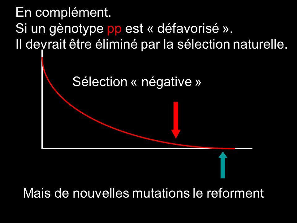 En complément. Si un gènotype pp est « défavorisé ». Il devrait être éliminé par la sélection naturelle.
