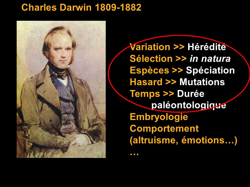 Charles Darwin 1809-1882 Variation >> Hérédité. Sélection >> in natura. Espèces >> Spéciation. Hasard >> Mutations.