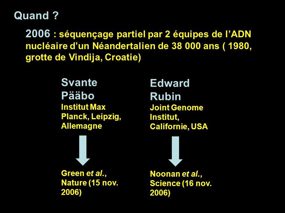 Quand 2006 : séquençage partiel par 2 équipes de l'ADN nucléaire d'un Néandertalien de 38 000 ans ( 1980, grotte de Vindija, Croatie)