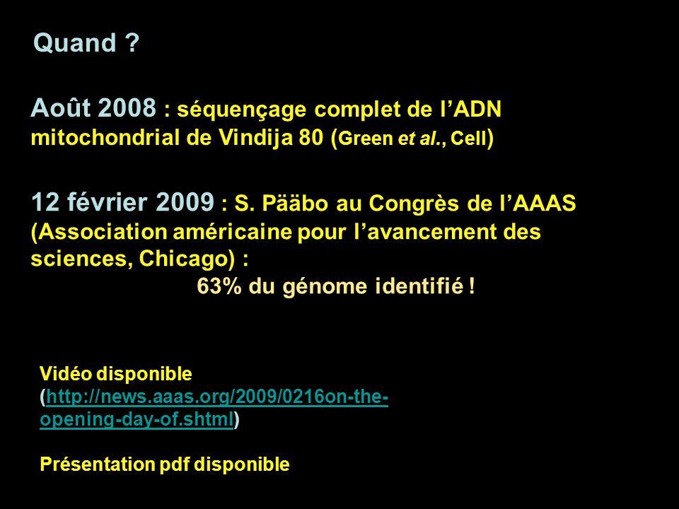 Quand Août 2008 : séquençage complet de l'ADN mitochondrial de Vindija 80 (Green et al., Cell)