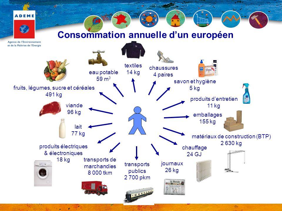 Consommation annuelle d'un européen