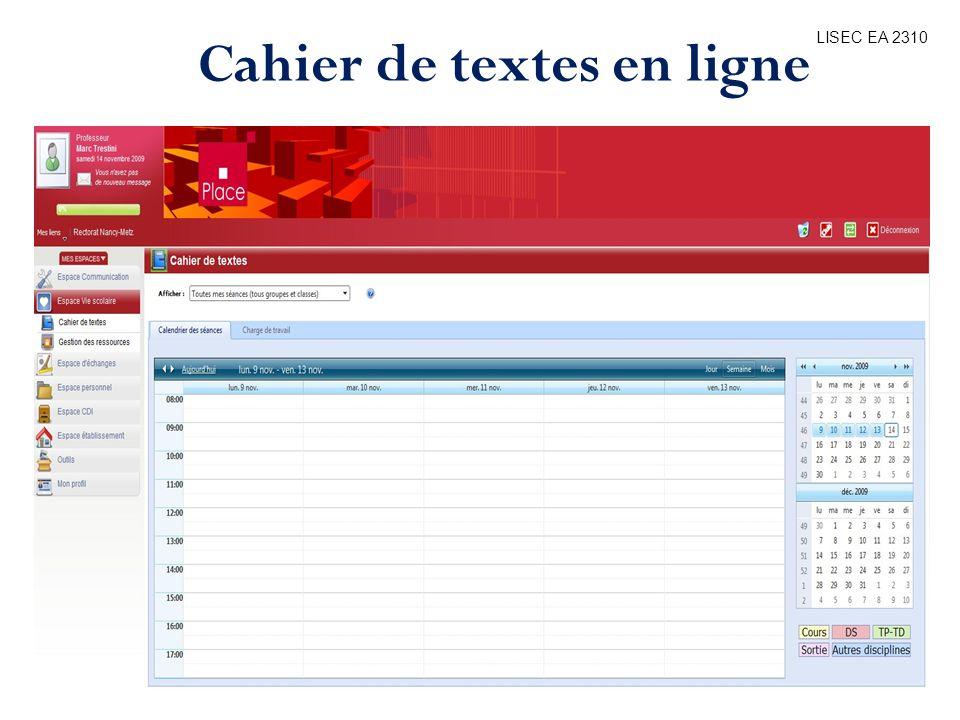 Cahier de textes en ligne
