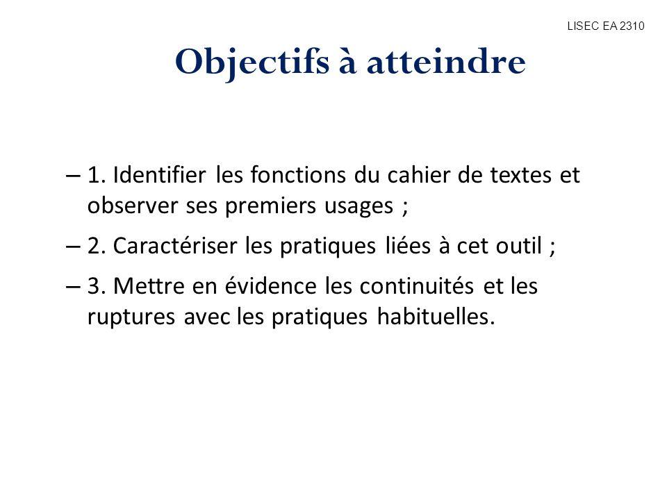 LISEC EA 2310 Objectifs à atteindre. 1. Identifier les fonctions du cahier de textes et observer ses premiers usages ;