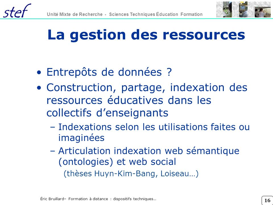 La gestion des ressources