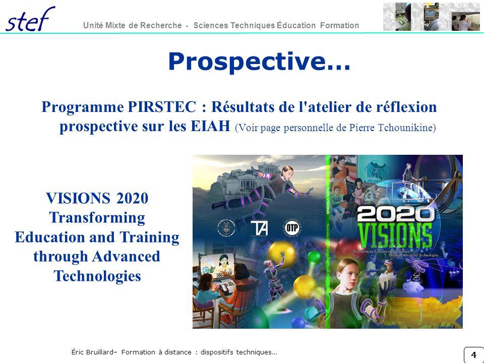 Prospective… Programme PIRSTEC : Résultats de l atelier de réflexion prospective sur les EIAH (Voir page personnelle de Pierre Tchounikine)